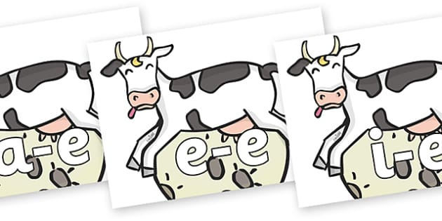 Modifying E Letters on Cow and Moon - Modifying E, letters, modify, Phase 5, Phase five, alternative spellings for phonemes, DfES letters and Sounds