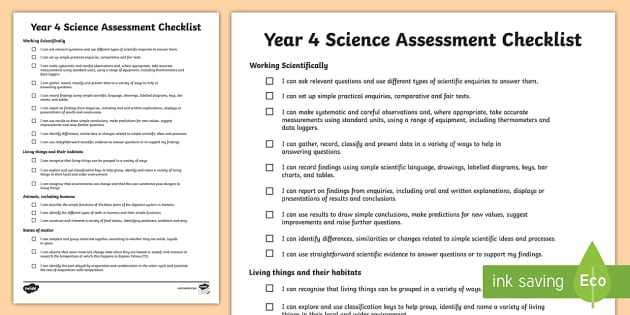 2014 Curriculum Year 4 Science Assessment Individual Checklist