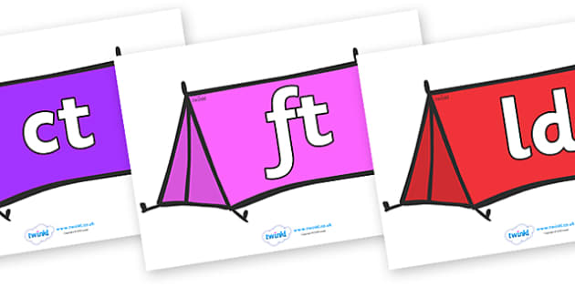 Final Letter Blends on Tents - Final Letters, final letter, letter blend, letter blends, consonant, consonants, digraph, trigraph, literacy, alphabet, letters, foundation stage literacy