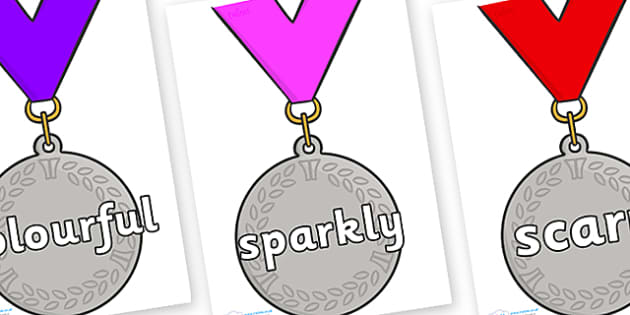 Wow Words on Silver Medal - Wow words, adjectives, VCOP, describing, Wow, display, poster, wow display, tasty, scary, ugly, beautiful, colourful sharp, bouncy