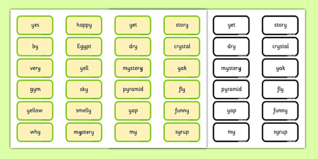 Alternative Pronunciation of Y Sorting Game - phonics, phase 5, phase 5 DfE, letters and sounds