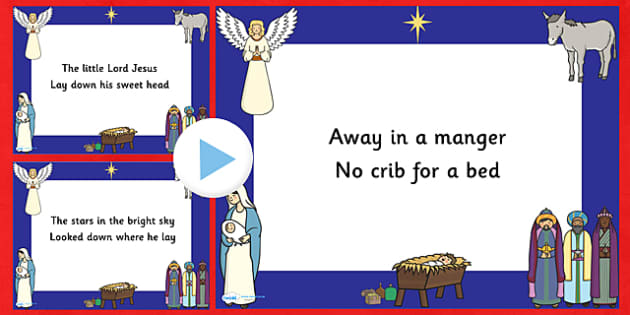 Away In A Manger Christmas Carol Lyrics PowerPoint - away in a manger, christmas, christmas carol, powerpoint, lyrics, lyrics powerpoint, christmas songs