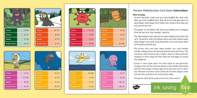 Monster Multiplication Card Game - monster, top trumps, multiply