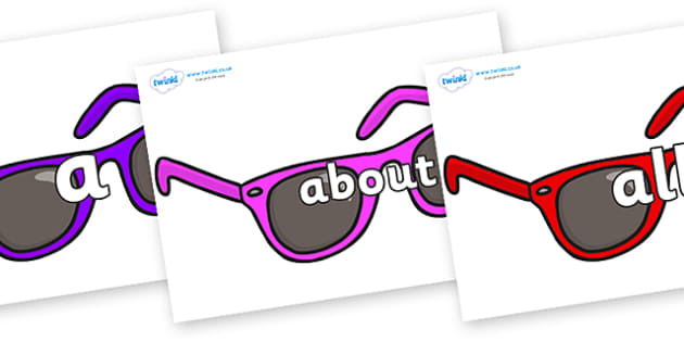 100 High Frequency Words on Sunglasses - High frequency words, hfw, DfES Letters and Sounds, Letters and Sounds, display words