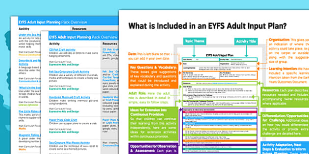 EYFS Under the Sea Adult Input Planning and Resource Pack Overview