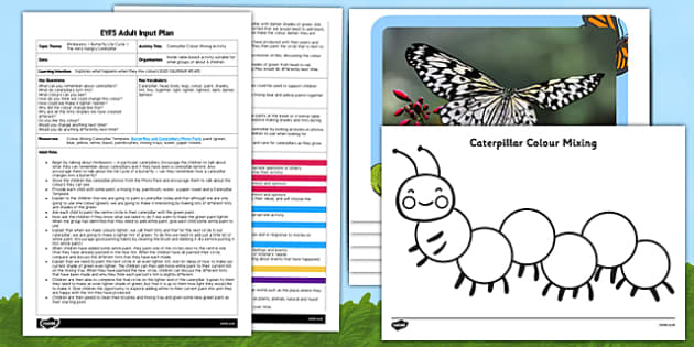 Caterpillar Colour Mixing EYFS Adult Input Plan and Resource Pack - caterpillar