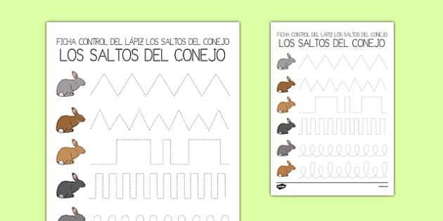 Ficha de control de trazo de saltos de conejo - motricidad, fina, trazo, animales domésticos