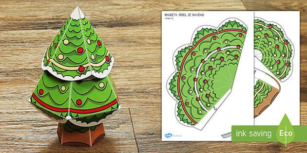 Maqueta: Un árbol de Navidad - adornos, navidad, navideño, manualidad, Spanish