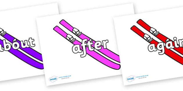 KS1 Keywords on Skis - KS1, CLL, Communication language and literacy, Display, Key words, high frequency words, foundation stage literacy, DfES Letters and Sounds, Letters and Sounds, spelling