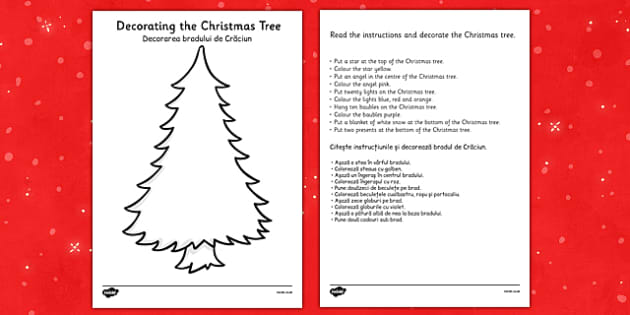 Christmas Tree Decorating Comprehension Activity Romanian Translation - romanian, christmas tree, decorating, comprehension, activity