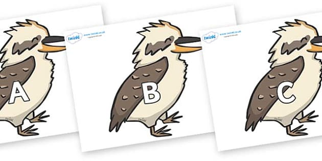 A-Z Alphabet on Kookaburras - A-Z, A4, display, Alphabet frieze, Display letters, Letter posters, A-Z letters, Alphabet flashcards