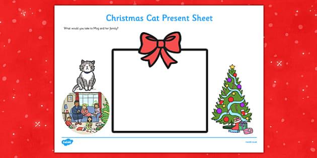 Christmas Cat Present Activity Sheet - mog, christmas cat, present, activity, sheet, worksheet