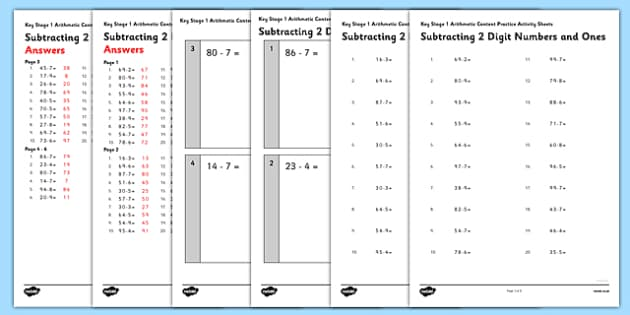 KS1 Arithmetic Content Practice Activity Sheet Pack Subtracting 2 Digit Numbers and Ones - Maths, KS1, Key Stage 1, Arithmetic, addition, subtraction, two-digit, tens, ones, add, subtract, worksheet