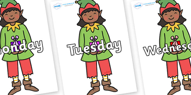 Days of the Week on Green Elf (Girl) - Days of the Week, Weeks poster, week, display, poster, frieze, Days, Day, Monday, Tuesday, Wednesday, Thursday, Friday, Saturday, Sunday
