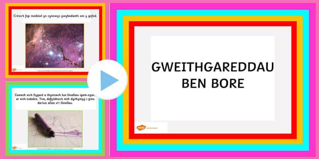 Pŵerbwynt Gweithgareddau Ben Bore CA1