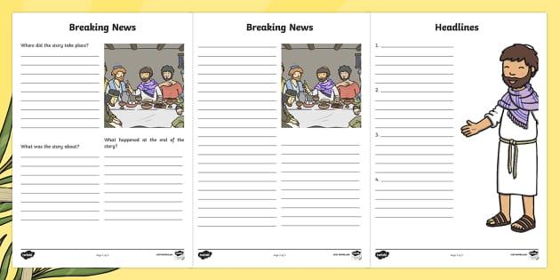Easter Story Breaking News Writing Frames - easter, story, breaking, news, frame