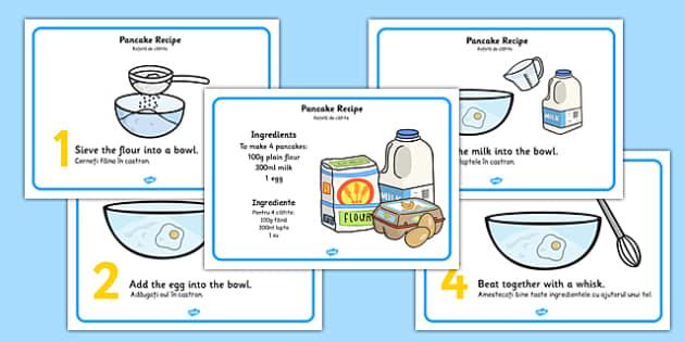 Pancake Recipe Sheets Romanian Translation - romanian, pancake, pancake day, recipe, cooking