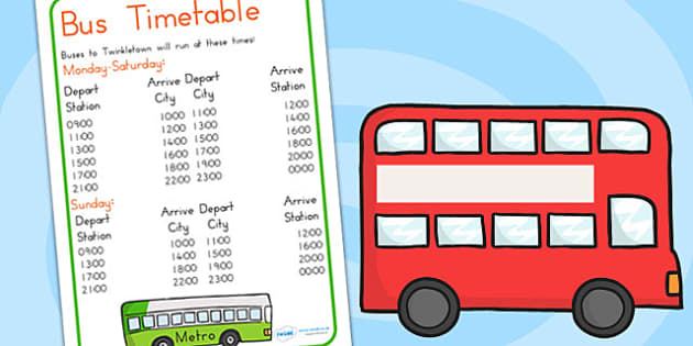 Bus Station Role Play Timetable - bus station, transport, bus