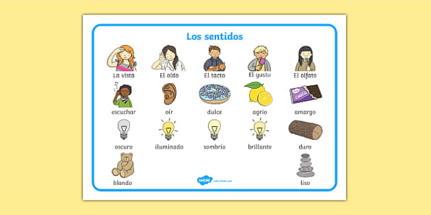 Los Sentidos The Senses Word Mat Spanish - spanish, Word mat, writing aid, Five Senses, Smell, sight, sound, hearing, taste, touch, ourselves, all about me, my body, senses, emotions, family, body, growth