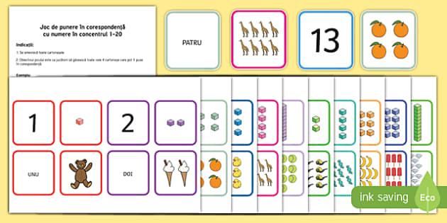 Joc de punere în corespondență cu numere în concentrul 1-20