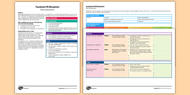 Foundation PE (Reception) Risk Assessment - EYFS, physical development, guidance