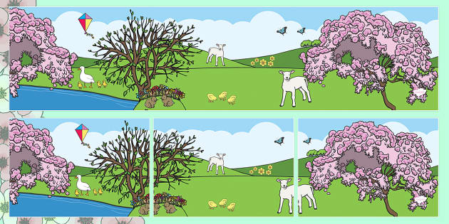 Small World Background (Spring) - Small World, backdrop, background, scenery, small world area, small world display, small world resources, seasons, season, autumn, winter, spring, summer, fall, four seasons, foundation stage, topic