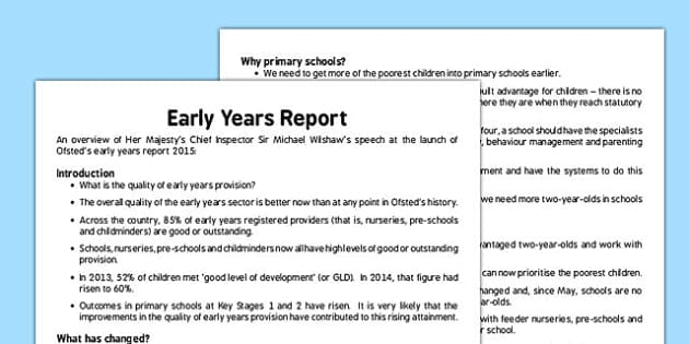 Early Years Report Overview - July 2015 - early years, report, overview