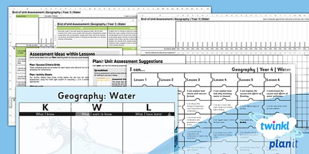 PlanIt - Geography Year 4 - Water Unit Assessment Pack - planit, geography, year 4, water, unit, assessment, pack