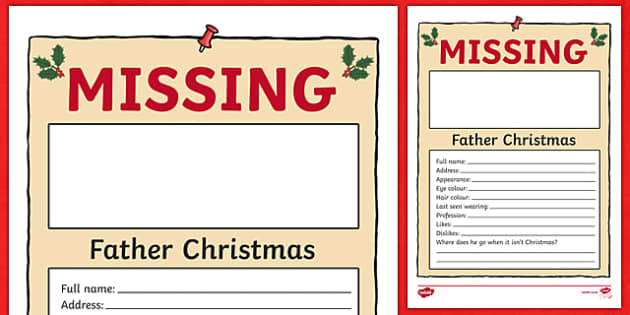 WANTED Father Christmas Activity Sheet - wanted, father christmas, activity, sheet, christmas, worksheet