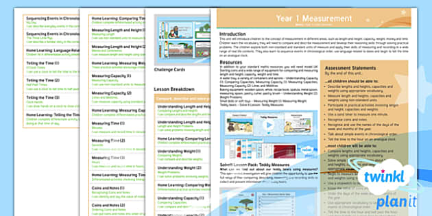 PlanIt Y1 Measurement Overview - Measurement, length, height, size, weight, capacity, time, chronological order, coins, note, dates,