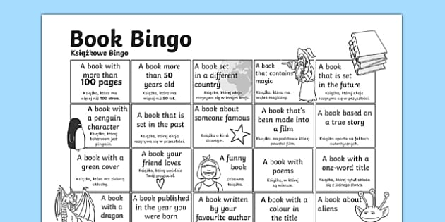 Book Bingo Activity Sheet Polish Translation - polish, reading, literacy, game, library, ks2, interaction, stories, worksheet
