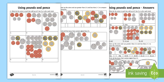 Using Pounds and Pence Activity Sheet - Learning from Home Maths Workbooks, add the coins, total, how much, greater than, less than, workshe