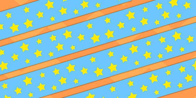 Blue and Yellow Stars Display Borders - display, borders, stars