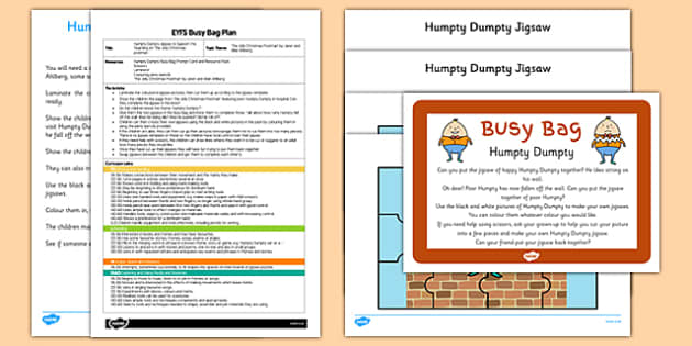 Humpty Dumpty EYFS Busy Bag Plan and Resource Pack - Nursery rhymes, jigsaw, EYFS