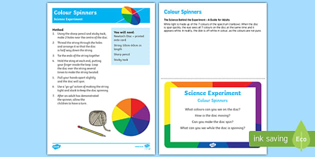 EYFS Colour Spinner Science Experiment and Prompt Card Pack