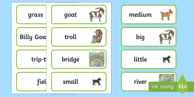 The Three Billy Goats Gruff Word Cards - Three Billy Goats Gruff, traditional tales,word cards, tale, fairy tale, goat, billy goat, troll, sweet grass, bridge, flashcards