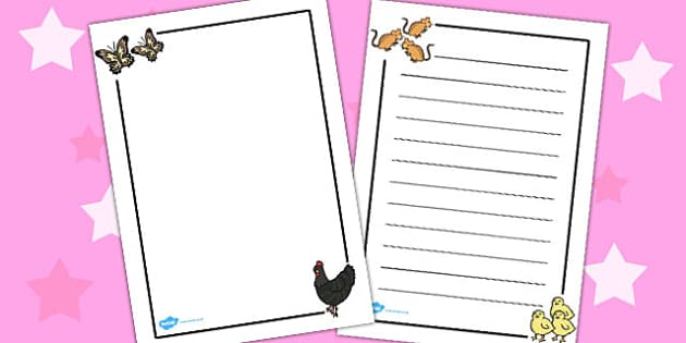 African Hen Story Page Borders - border, frames, write