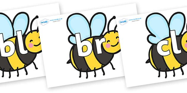 Initial Letter Blends on Bees - Initial Letters, initial letter, letter blend, letter blends, consonant, consonants, digraph, trigraph, literacy, alphabet, letters, foundation stage literacy