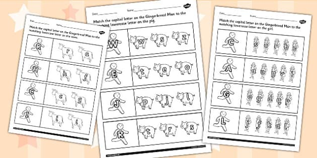 The Gingerbread Man Themed Capital Letter Matching Worksheet