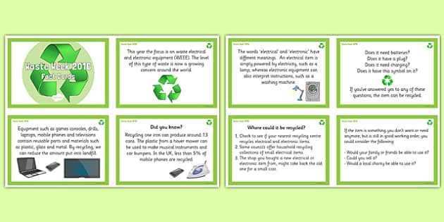 Waste Week 2016 Fact Cards - Waste Week, Eco-schools, WEEE, waste electrical and electronic equipment, technology, recycle, reuse, fact cards