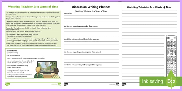 Year 5 Discussion Writing: Watching Television Is a Waste of Time Activity Sheets-Australia - Literacy, discussion, naplan, year 5, assessment, writing, independent writing, stimulus, template,