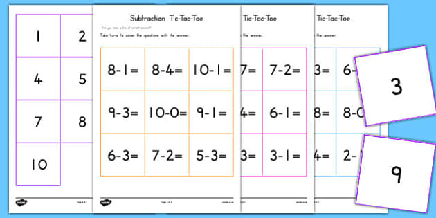 Subtraction Tic Tac Toe Game To Ten - subtract, math games, math