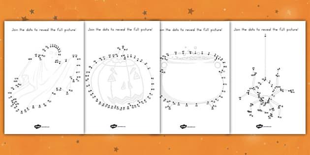 Halloween Dot to Dot Activity Sheets - fine motor skills, pd, counting, maths, drawing, worksheet
