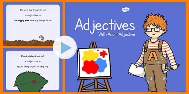 Adjectives PowerPoint - adjectives, powerpoint, words, presentation