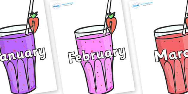 Months of the Year on Smoothies - Months of the Year, Months poster, Months display, display, poster, frieze, Months, month, January, February, March, April, May, June, July, August, September