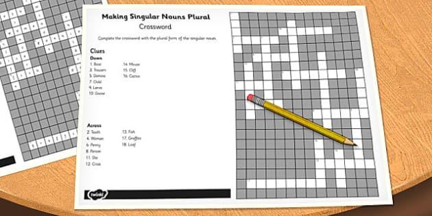 Making Singular Nouns Plural Crossword - crossword, singular, nouns