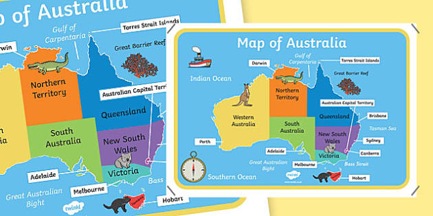 Map of Australia With Names - australia, map, names of cities
