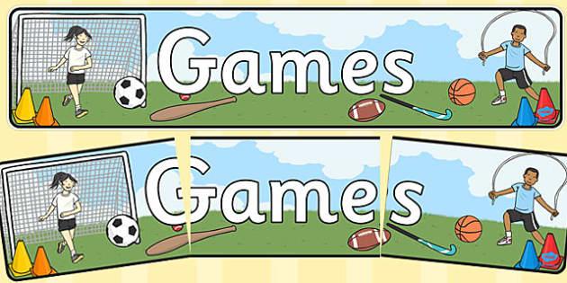 PE Games Display Banner - sport, display, header, activities, information, equipment, infant, junior, store