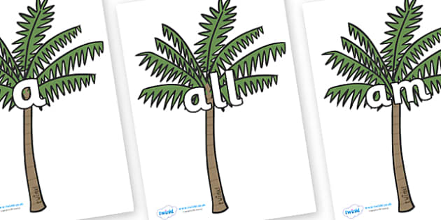 Foundation Stage 2 Keywords on Palm Trees - FS2, CLL, keywords, Communication language and literacy,  Display, Key words, high frequency words, foundation stage literacy, DfES Letters and Sounds, Letters and Sounds, spelling
