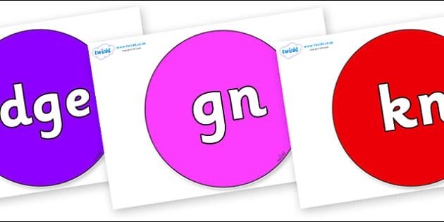 Silent Letters on Circles - Silent Letters, silent letter, letter blend, consonant, consonants, digraph, trigraph, A-Z letters, literacy, alphabet, letters, alternative sounds